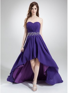 A-Line/Princess Sweetheart Asymmetrical Chiffon Prom Dress With Ruffle Beading