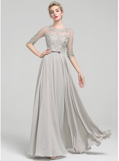 A-Line/Princess Scoop Neck Floor-Length Chiffon Prom Dress With Beading Bow(s)