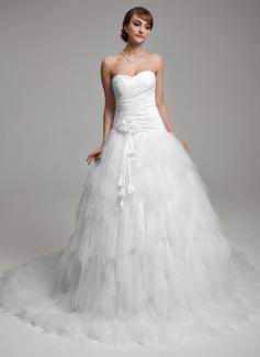 Ball-Gown Sweetheart Chapel Train Taffeta Tulle Wedding Dress With Ruffle Flower(s)