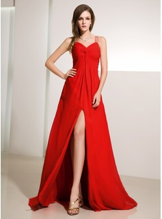 A-Line/Princess V-neck Floor-Length Chiffon Evening Dress With Ruffle Beading Split Front
