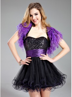 A-Line/Princess Sweetheart Short/Mini Tulle Charmeuse Sequined Homecoming Dress With Ruffle Sash