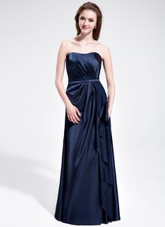 Sheath/Column Sweetheart Floor-Length Charmeuse Bridesmaid Dress With Cascading Ruffles