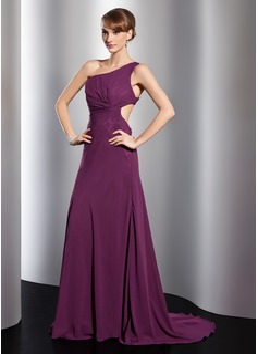 A-Linie/Princess-Linie One-Shoulder-Träger Sweep/Pinsel zug Chiffon Abendkleid mit Rüschen