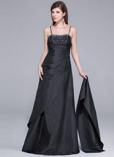 A-Line/Princess Sweetheart Floor-Length Taffeta Prom Dress With Ruffle Beading