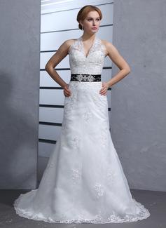 Trumpet/Mermaid Halter Chapel Train Organza Wedding Dress With Sash Beading Appliques Lace