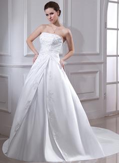 ثوب حفلة بلا حمالة ذيل شابيل Satin فستان الزفاف مع كشكش Lace مطرز بالخرز