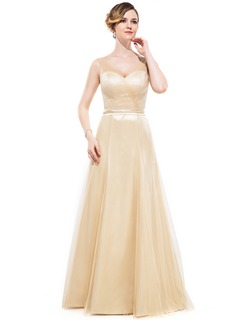 A-Line/Princess V-neck Floor-Length Tulle Charmeuse Bridesmaid Dress With Ruffle Bow(s)