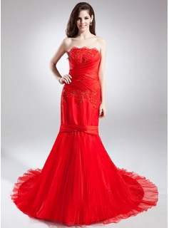 Trumpet/Mermaid Strapless Chapel Train Satin Organza Prom Dress With Ruffle Lace Beading Flower(s) Pleated