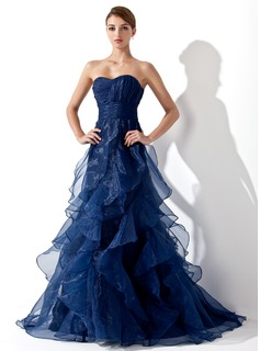 A-Line/Princess Sweetheart Sweep Train Organza Prom Dress With Cascading Ruffles