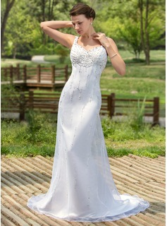 Trumpet/Mermaid Sweetheart Court Train Organza Satin Wedding Dress With Beading Sequins