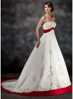 Ball-Gown Strapless Court Train Satin Wedding Dress With Sash Beading Appliques Lace