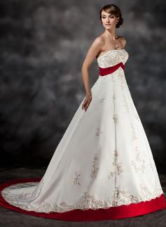 Corte de baile Estrapless Cola corte Satén Vestido de novia con Fajas Bordado Los appliques Encaje