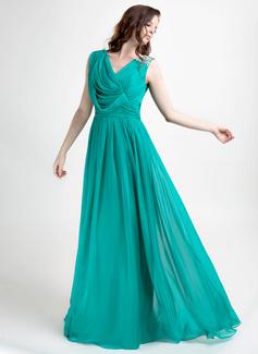Vestidos princesa/ Formato A Decote V Vestidos longo Chiffon Vestido de festa com Pregueado Beading (020015821)