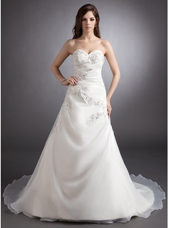 Ball-Gown Sweetheart Court Train Organza Satin Wedding Dress With Ruffle Beading Appliques Lace