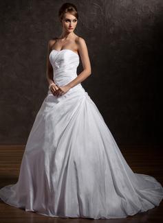 Corte de baile Escote corazón Cola capilla Tafetán Vestido de novia con Volantes Encaje Bordado Lentejuelas