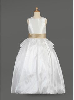 A-Line/Princess Scoop Neck Floor-Length Taffeta Lace Flower Girl Dress With Sash Beading Bow(s) Cascading Ruffles