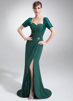 Syrena Kochanie Asymetryczna Chiffon Lace Suknia dla Mamy Panny Młodej