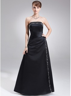 A-Line/Princess Strapless Floor-Length Satin Mother of the Bride Dress With Ruffle Beading