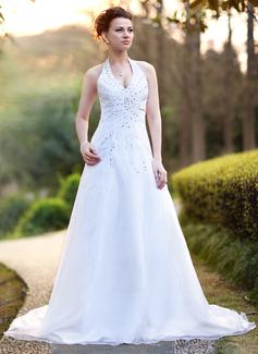 A-formet/Prinsesse Grime Kapell tog Satin Organza Brudekjole med Perlebesydd Paljetter