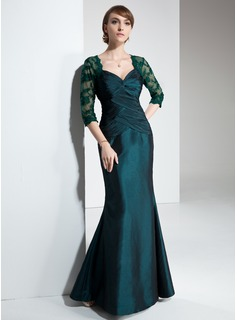 Mermaid Sweetheart Floor-Length Taffeta Lace Mother of the Bride Dress With Ruffle