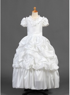 A-Line/Princess Floor-length Flower Girl Dress - Taffeta Short Sleeves V-neck With Ruffles/Lace/Pick Up Skirt