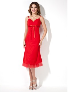 Empire Sweetheart Knee-Length Chiffon Bridesmaid Dress With Ruffle Bow(s)