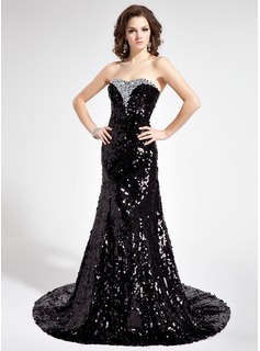 Trumpet/Mermaid Sweetheart Court Train Sequined Prom Dress With Beading