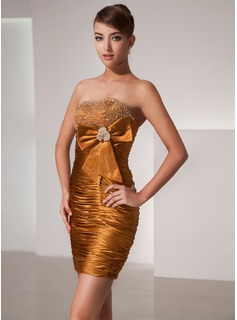 Sheath/Column Strapless Short/Mini Charmeuse Homecoming Dress With Beading Bow(s)