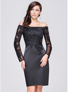 Sheath/Column Off-the-Shoulder Knee-Length Satin Cocktail Dress With Beading Appliques Lace Sequins