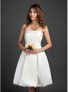 A-Line/Princess Strapless Knee-Length Satin Lace Wedding Dress With Ruffle