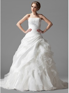 Ball-Gown Strapless Chapel Train Taffeta Organza Wedding Dress With Lace Cascading Ruffles