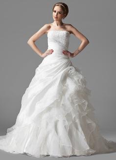 Balklänning Axelbandslös Chapel släp Taft Organzapåse Bröllopsklänning med Spetsar Svallande Krås