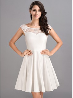 A-Line/Princess Scoop Neck Short/Mini Jersey Homecoming Dress