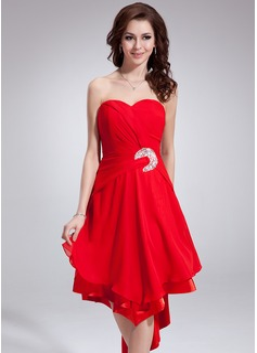 A-Line/Princess Sweetheart Asymmetrical Chiffon Homecoming Dress With Ruffle Beading Sequins