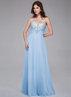 A-Line/Princess Sweetheart Floor-Length Chiffon Tulle Prom Dress With Ruffle Beading