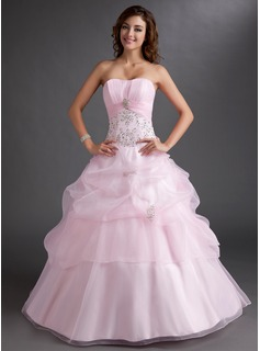 Ball-Gown Sweetheart Floor-Length Organza Quinceanera Dress With Embroidered Ruffle Beading Sequins