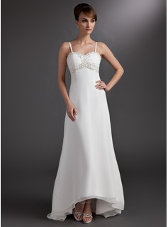 A-Line/Princess Sweetheart Asymmetrical Chiffon Wedding Dress With Lace Beading