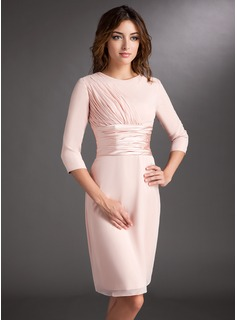 Sheath Scoop Neck Knee-Length Chiffon Charmeuse Mother of the Bride Dress With Ruffle