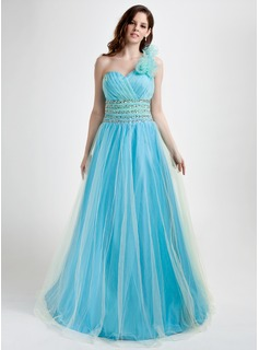 A-Line/Princess One-Shoulder Floor-Length Tulle Prom Dress With Ruffle Beading