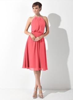 Vestidos princesa/ Formato A Decote redondo Coquetel De chiffon Vestido de madrinha com Pregueado Curvado