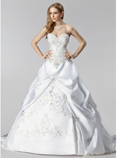 Ball-Gown Sweetheart Chapel Train Satin Wedding Dress With Embroidery Ruffle Beading