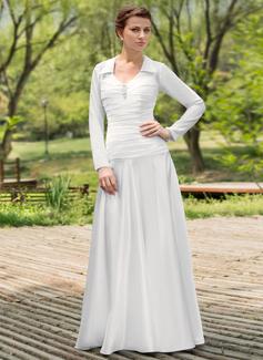 A-linjeformat Rund-urringning Golvlång Chiffong Charmeuse Bröllopsklänning med Rufsar Pärlbrodering