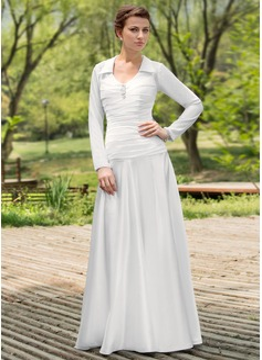 Vestidos princesa/ Formato A Decote redondo Longos De chiffon Charmeuse Vestido de noiva com Pregueado Bordado