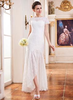 Corte trompeta/sirena Asimétrico Encaje Vestido de novia