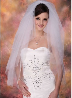 Cuatro capas Yema del dedo velos de novia con Corte de borde