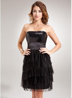 Sheath/Column Strapless Short/Mini Tulle Charmeuse Sequined Cocktail Dress With Ruffle