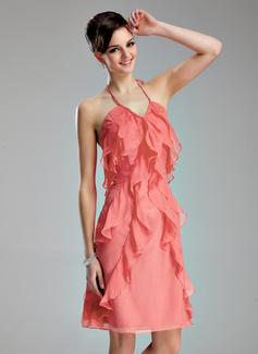 A-Line/Princess Halter Knee-Length Chiffon Homecoming Dress With Cascading Ruffles