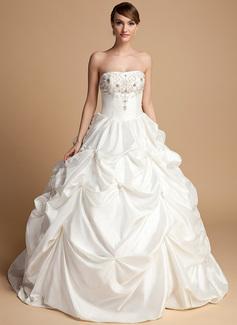 Ball-Gown Sweetheart Floor-Length Taffeta Wedding Dress With Beading