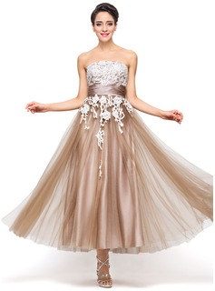 A-Line/Princess Strapless Ankle-Length Satin Tulle Holiday Dress With Appliques Lace