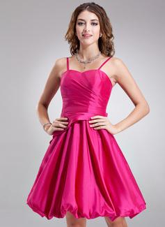 Çan/Prenses Kalp Kesimli Diz Hizası Taffeta Nedime Elbisesi